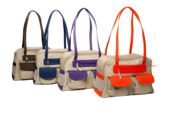 Dog Carrier - Beige Canvas Spring/Summer w/Colored Canvas Trim - 4 Color Options
