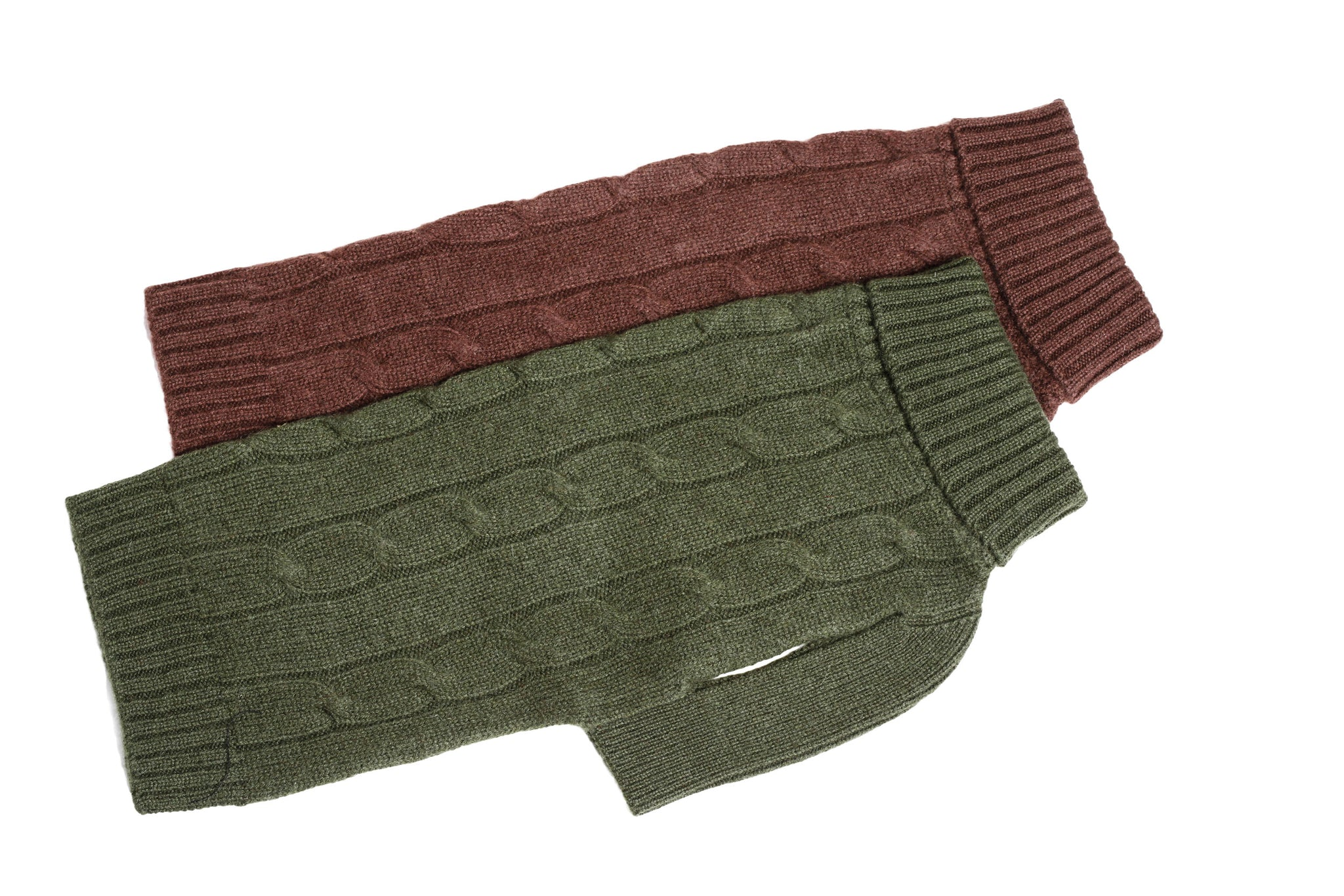 Cashmere Dog Solid Sweater - Brown & Green