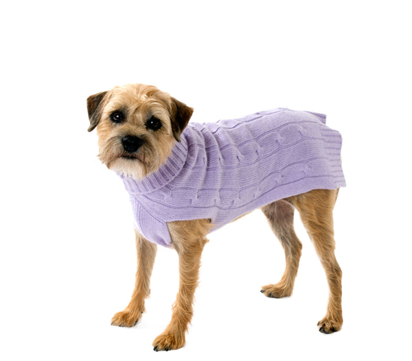 Cashmere Dog Sweater - Lavender, Oatmeal & Navy