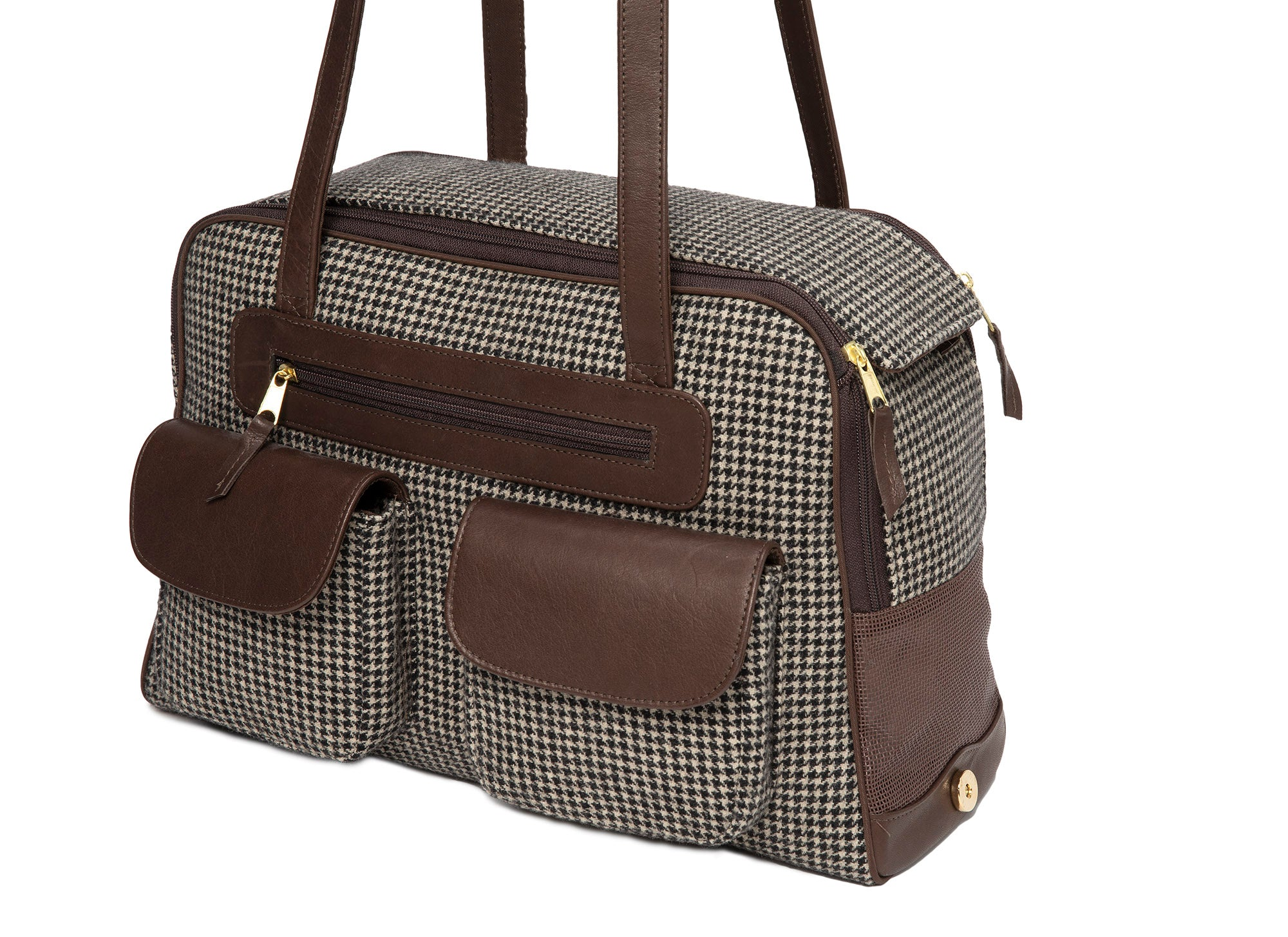 Dog Carrier - Winter - Cashmere Brown Checked Houndstooth Carrier