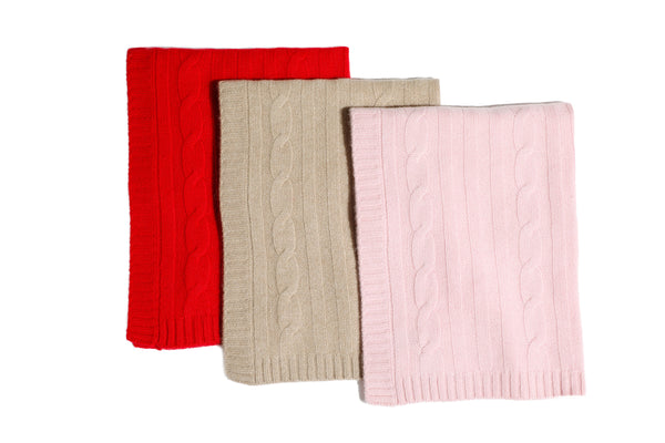 Cashmere Blanket - Red, Oatmeal & Pink - Dog Blanket - 3 Color Options