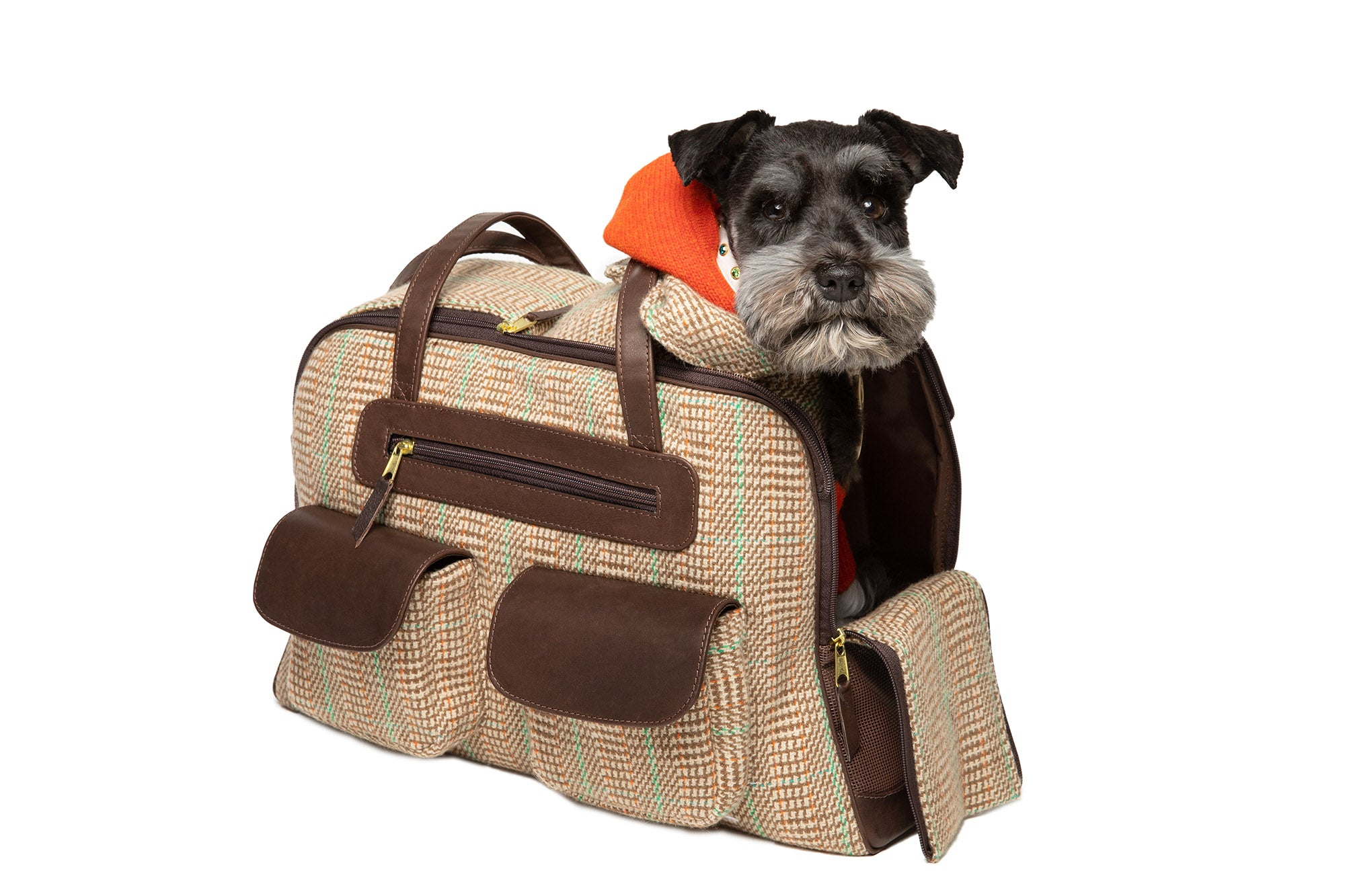 Dog Carrier - Cashmere Dog Carrier  - Beige & Green Plaid