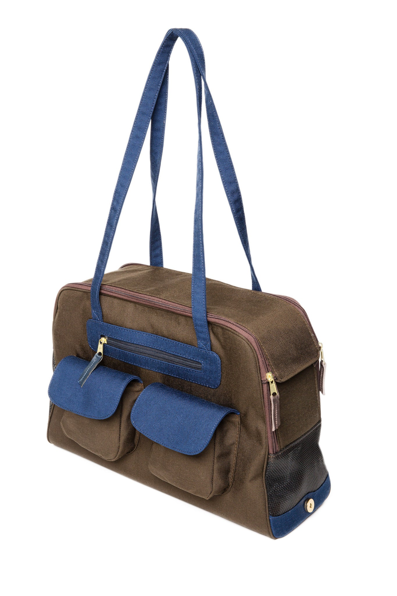 Dog Carrier - Chocolate Canvas, Colored Canvas Trim, 3 Colors