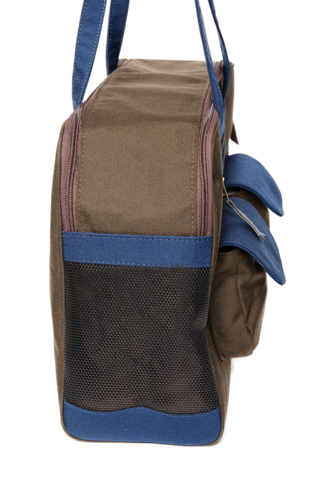 Dog Carrier - Winter Chocolate Canvas, Colored Canvas Trim, 3 Colors