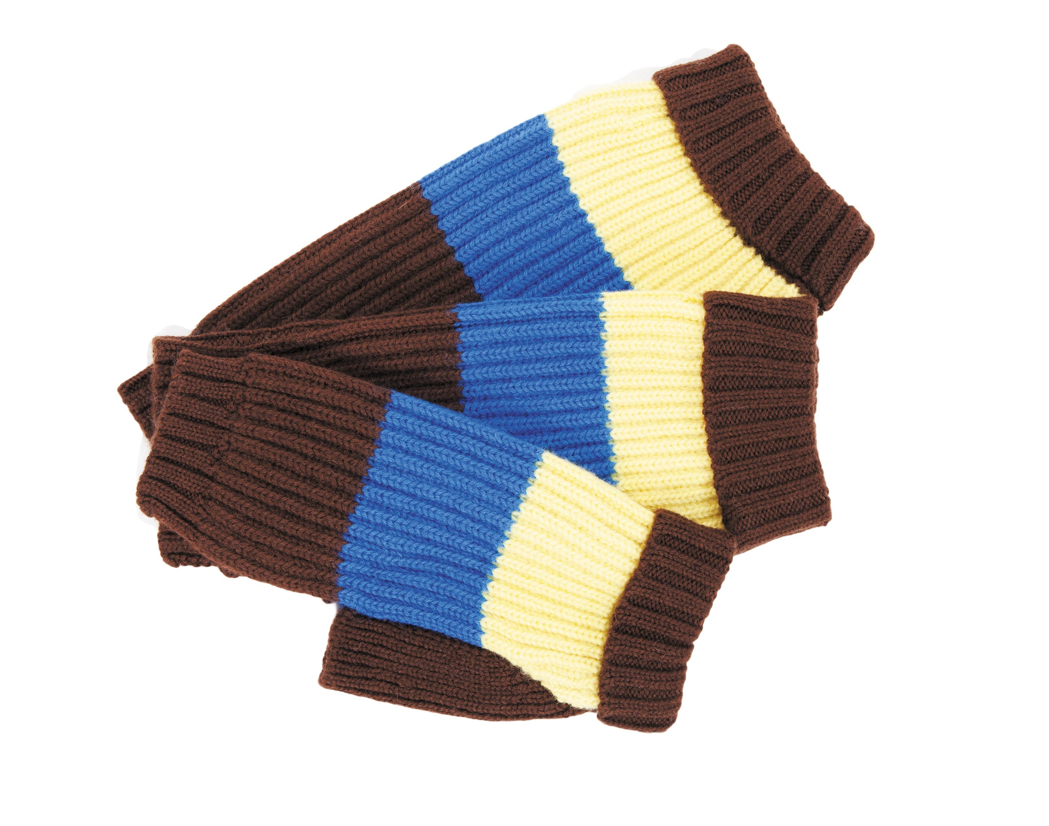 Wool Dog Sweater - Deer Valley - Brown,Blue & Yellow