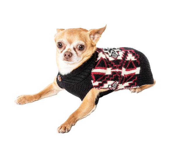 Wool Dog Sweater - Navajo, Black & Red