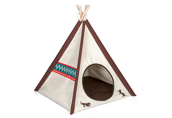Red and White Pattern - Canvas Dog Teepee