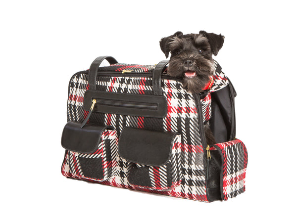 Fall - Dog Carrier - Black and Red Wool Plaid