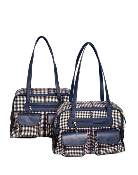 Dog Carrier - Blue, Brown & Black Wool Plaid Carrier - & Coat