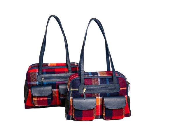 Dog Carrier - Wool Multi Color Plaid Carrier & Coat