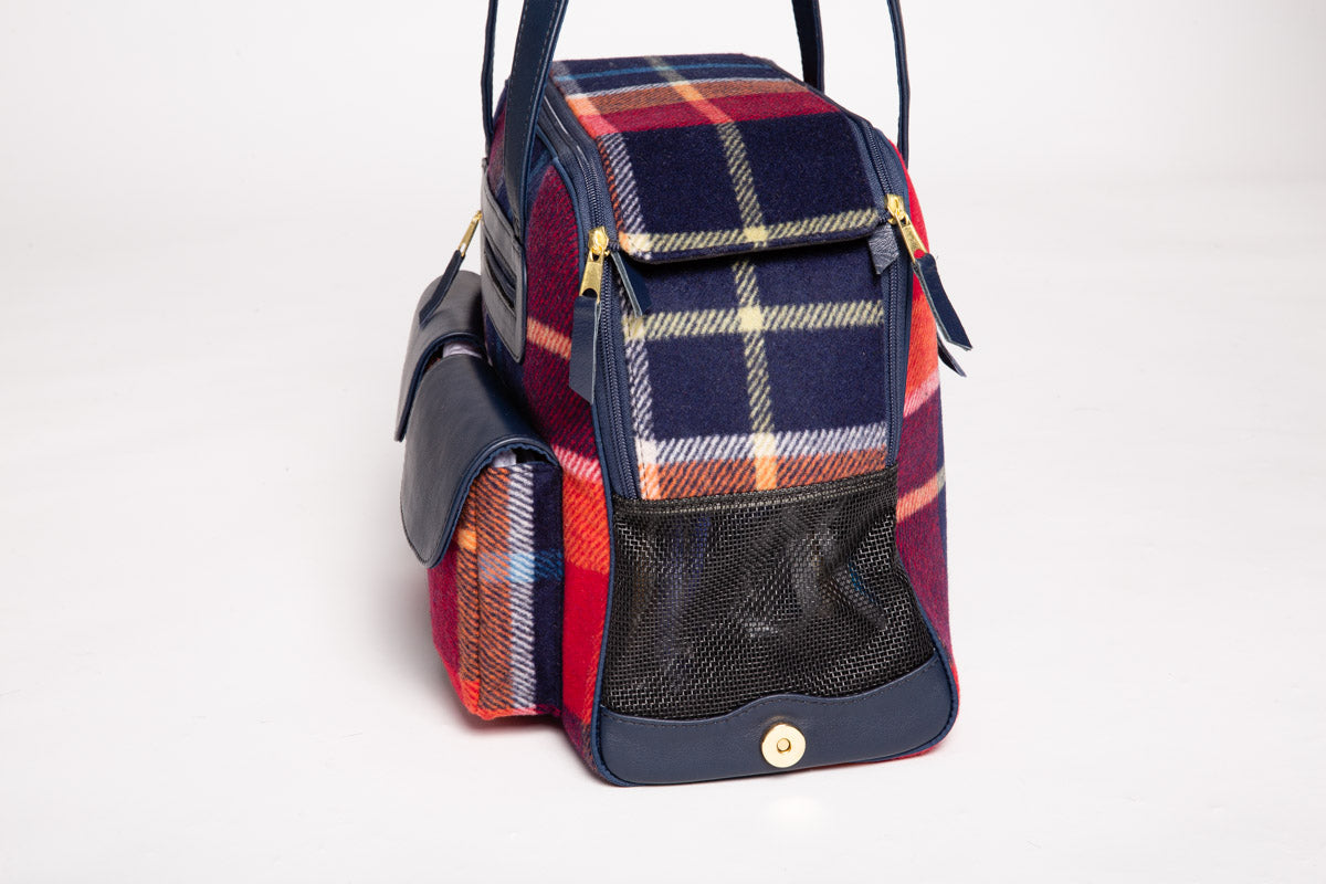 Fall - Dog Carrier - Multi Color Wool Plaid Carrier