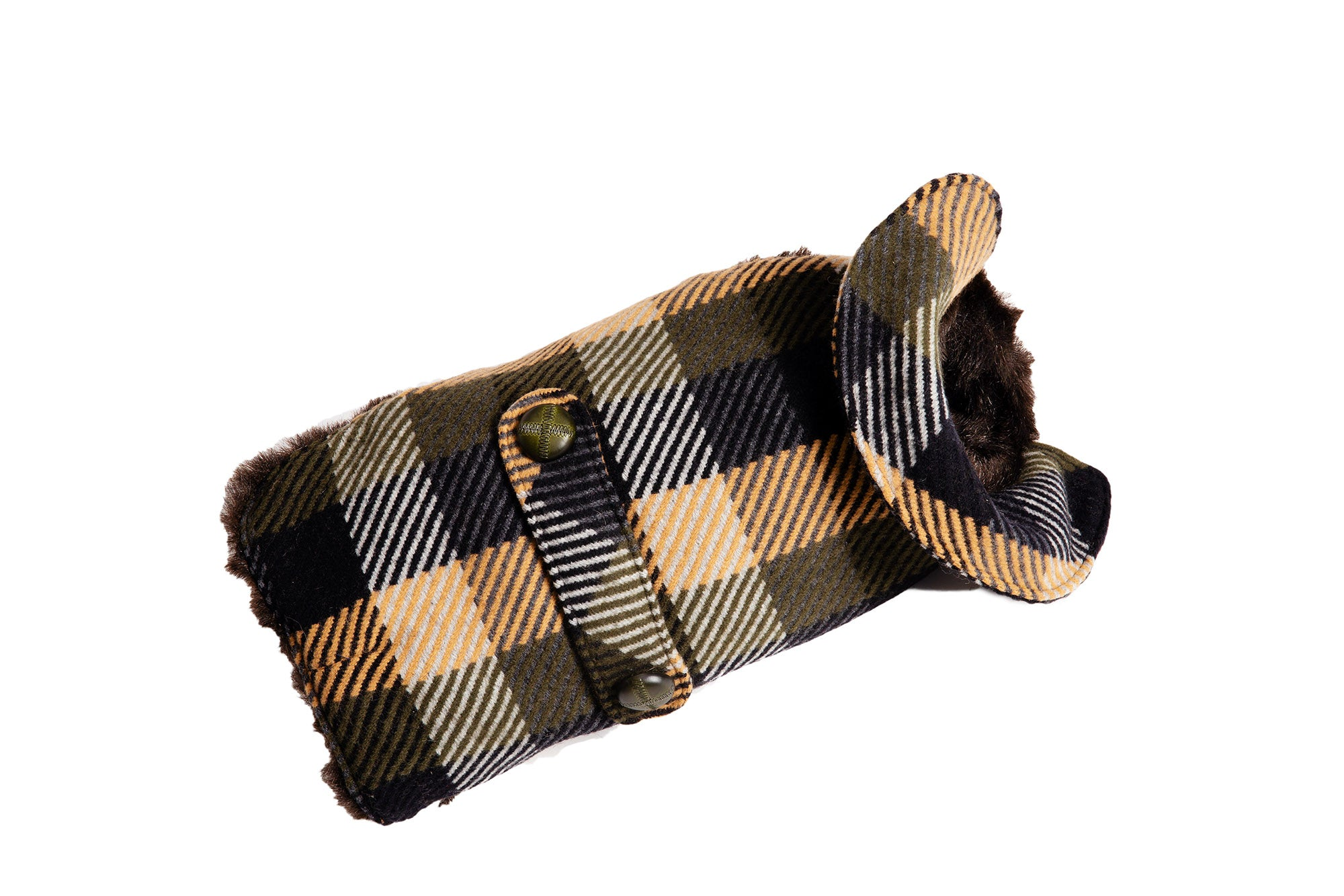 Dog Carrier & Coat - Blue, Green & Tan Wool Plaid