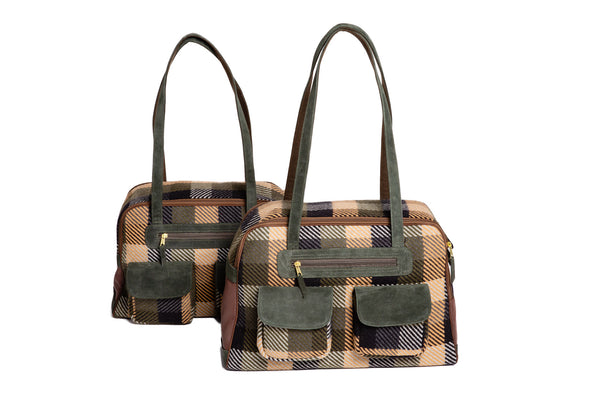 Fall - Dog Carrier - Blue, Green & Tan Wool Plaid