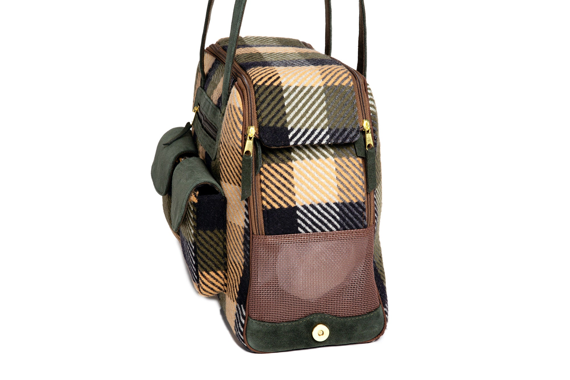 Dog Carrier - Wool Plaid Blue, Green & Tan