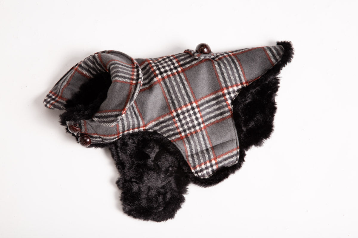 Cashmere, Faux Fur Lining, Red, Black  & Gray Plaid