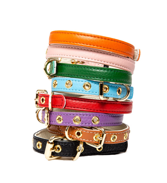 Dog Collar - Fine leather Dog Collar - Soft Leather - 9 Colors