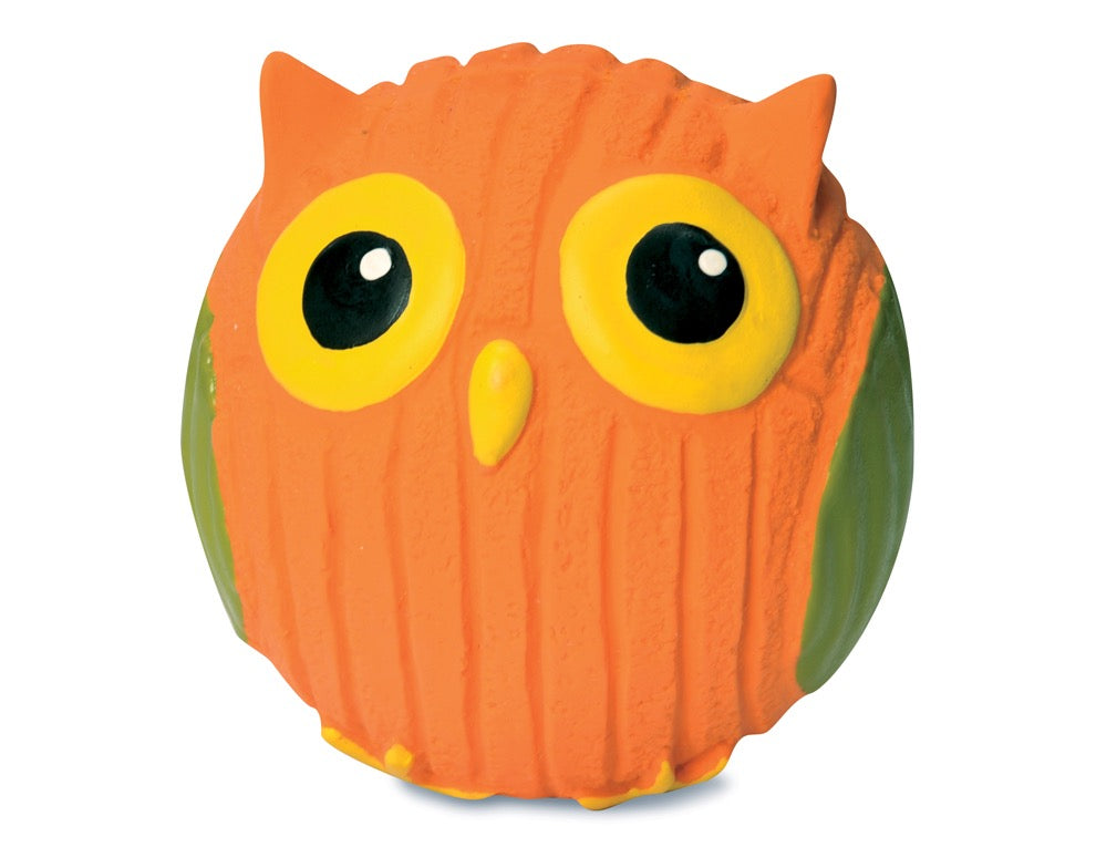Dog Toy - Latex Toy - Ruff Tex Orange Owl - Dog Toy - 2 Sizes
