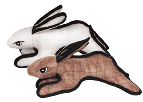 Durable Rabbit Dog Toy | White & Brown