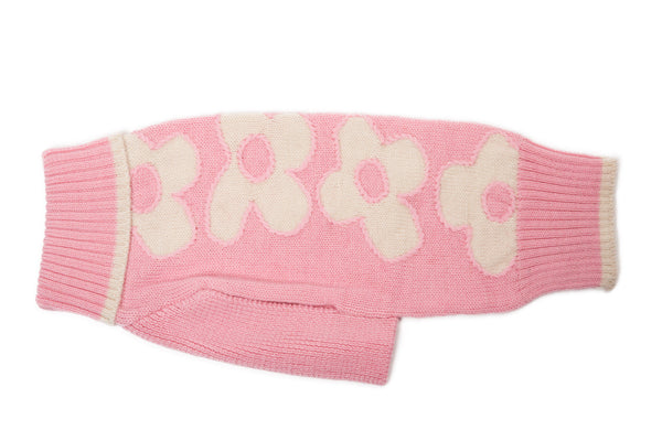 Wool Dog Sweater - Floral, Pink, Brown Dog Sweaters