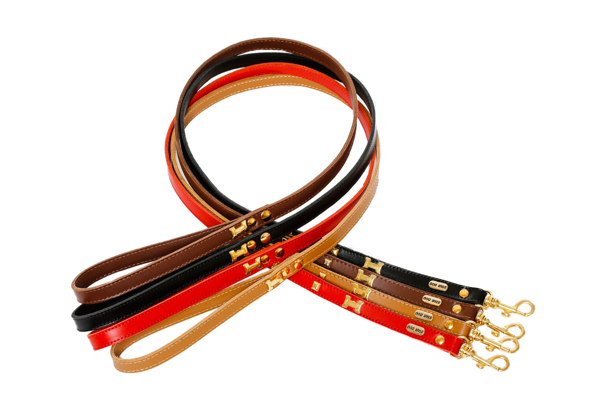 """H"" Dog Leads - Leather Lead - 10 Color Options"