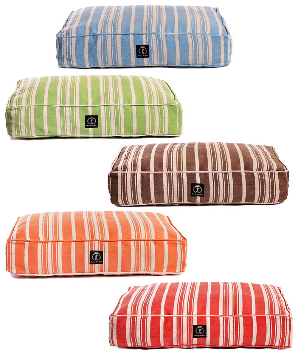Hemp Bed - Striped Rectangle Cushion - Dog Bed - 5 Color Options