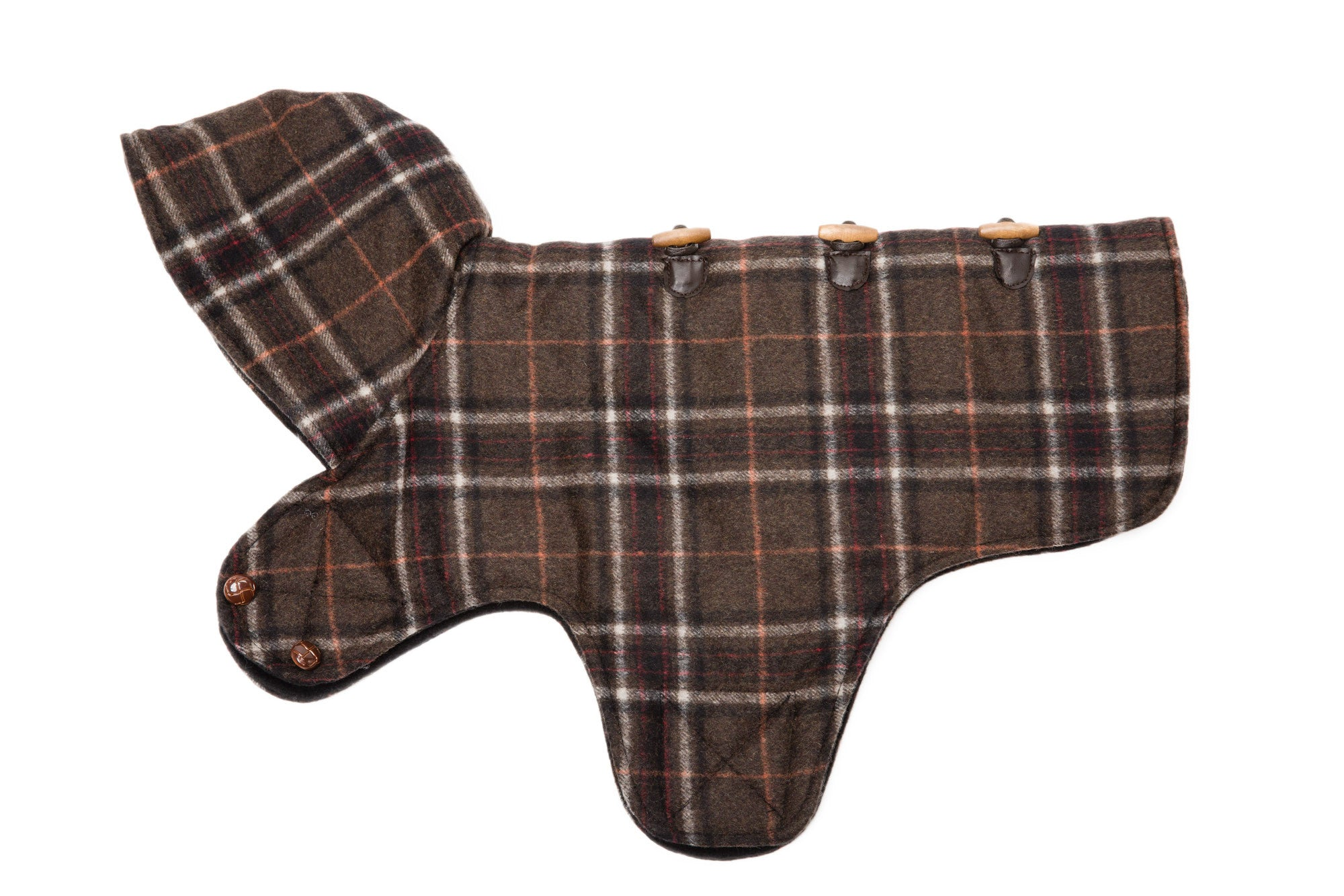 Dog Coat - Hooded Toggle, Red, Brown Plaid Dog Coats