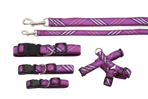 Plaid Signature Collection - Dog Collar, Harness, & Lead - Lavender Plaid