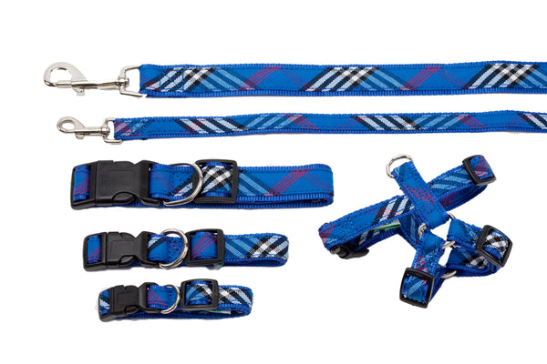 Plaid Signature Collection - Dog Collars, Harnesses & Leads - Blue Plaid