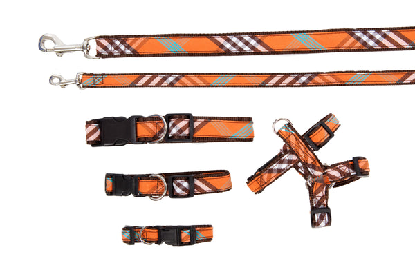 Plaid Signature Collection - Collars, Harnesses & Leads - Orange Plaid