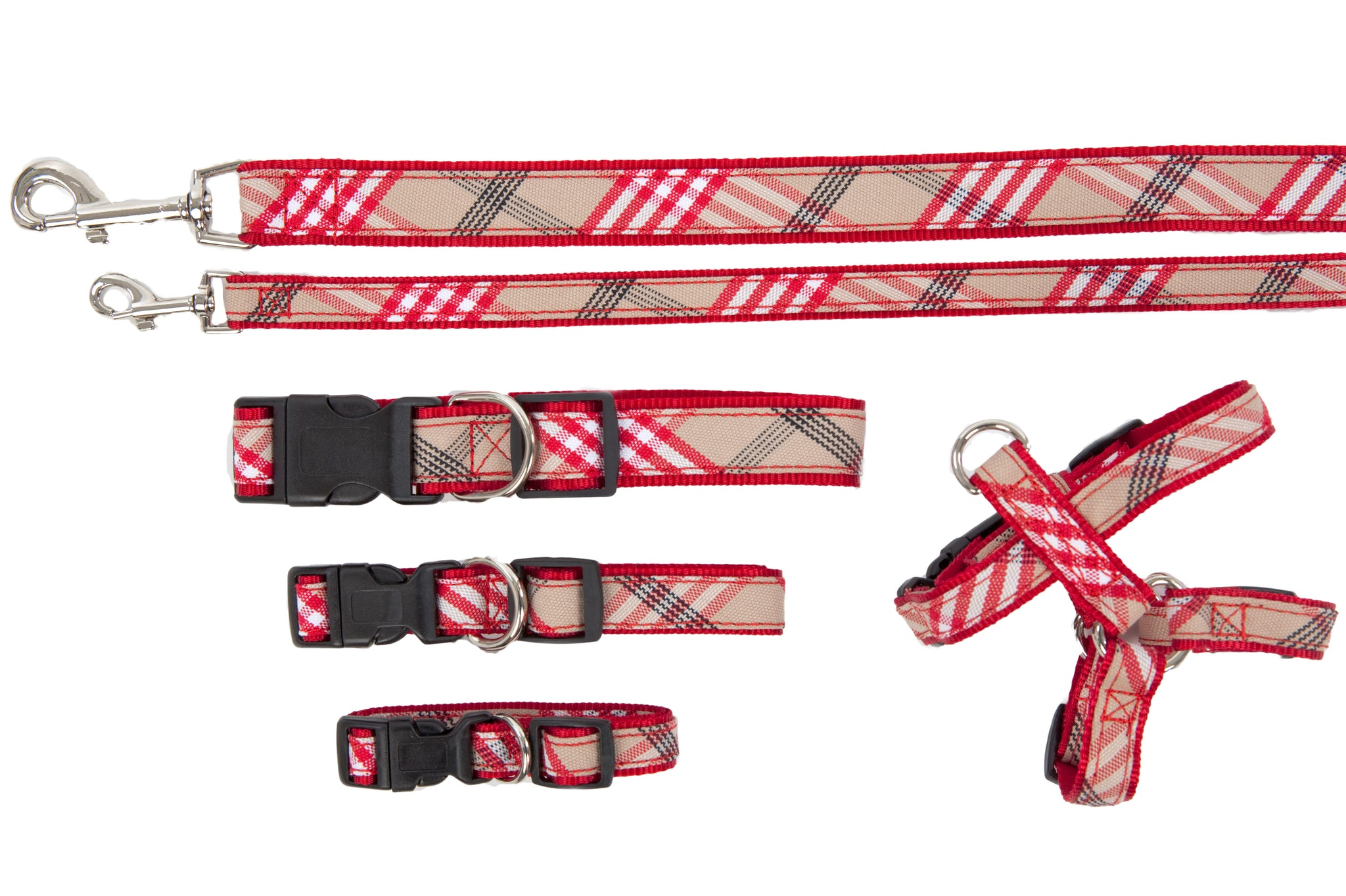Plaid Signature Collection - Collar, Harness, & Lead - Red Plaid
