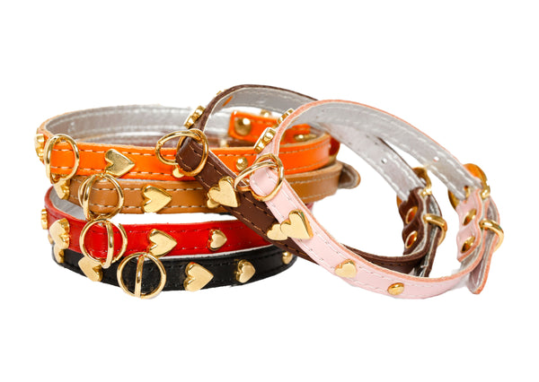 Dog Collars - Soft Leather Jophi Heart - 7 Color Options