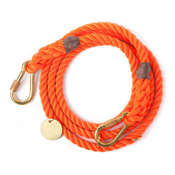 Rope Lead - Dog Lead - Blue & Orange Adjustable Rope