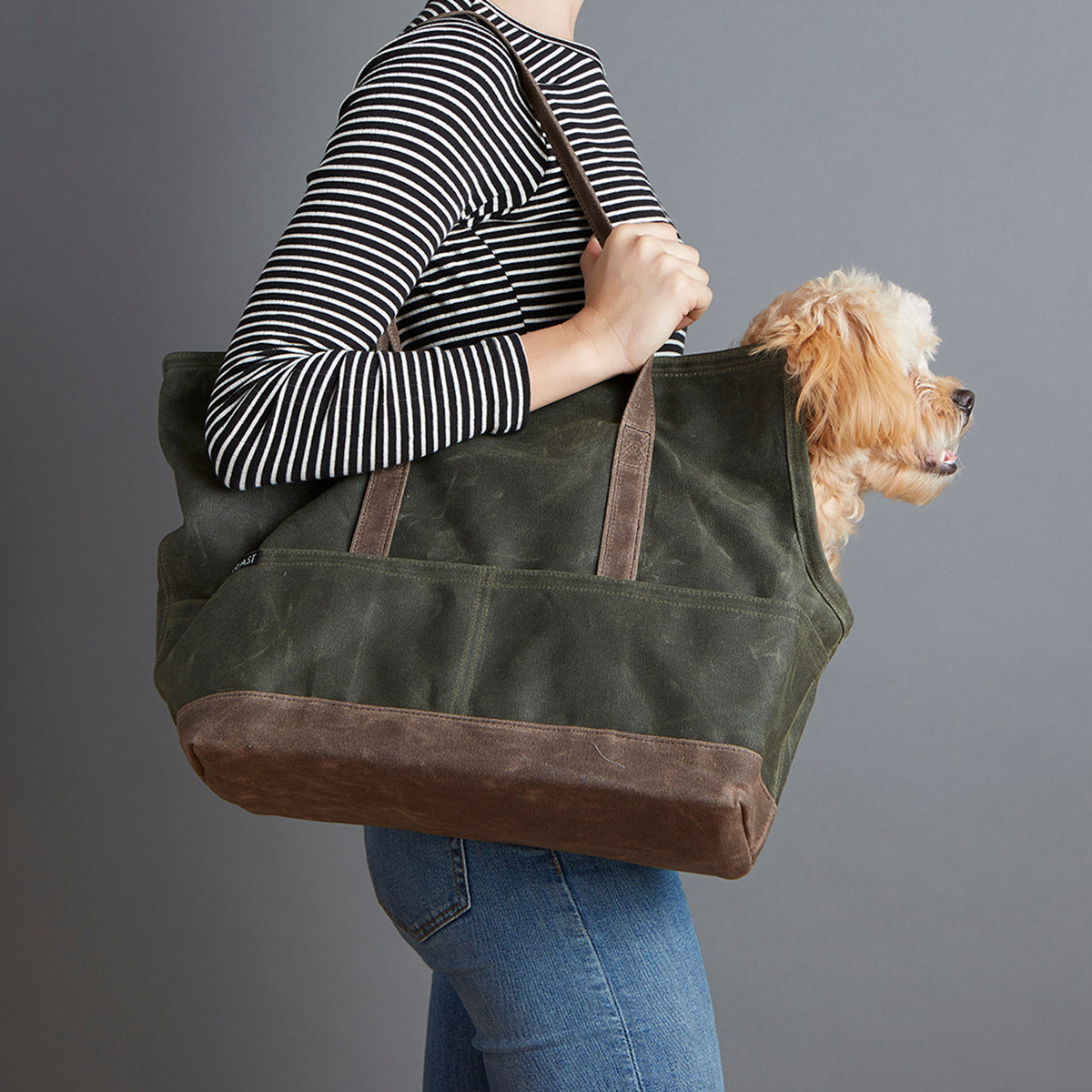 Dog Carrier - Sadie Waxed Cotton Open Tote