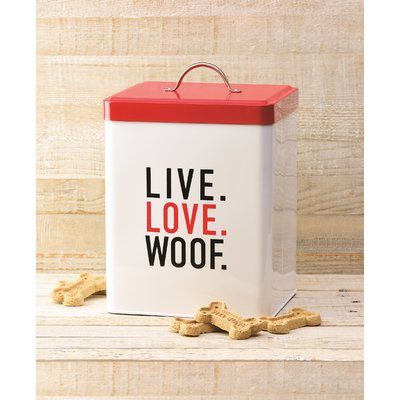 "Metal Food Tin - ""Live/Love/Woof"" Food Canister"