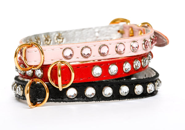 Dog Collar - Soft Leather Jophi Rhinestone - 3 Color Options