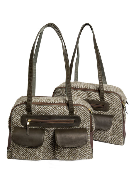 Fall - Dog Carrier - Green Herringbone Carrier & Coat