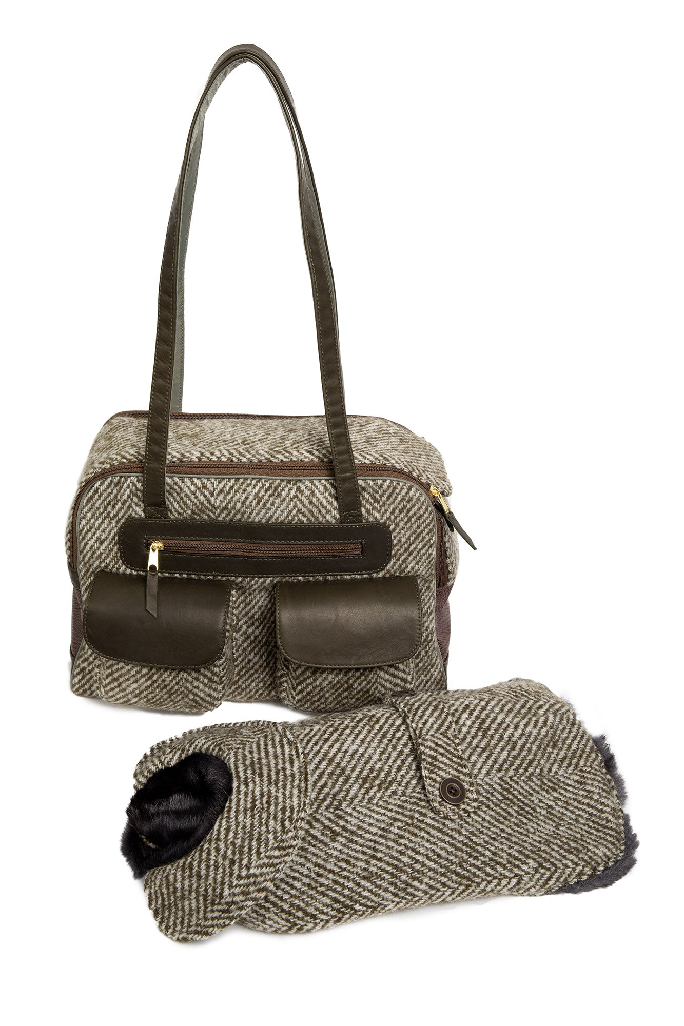 Dog Carrier - Green Herringbone Carrier & Coat