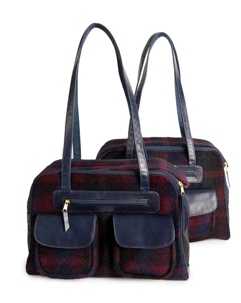 Dog Carrier - Navy & Burgundy Wool Carrier