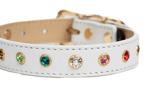 Dog Collar - White Leather Multi-colored Rhinestone Collar - 9 Colors