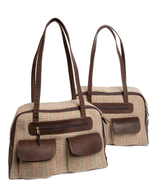 Dog Carrier - Cashmere Dog Carrier - Faux Fur Lining - Beige & Green Plaid