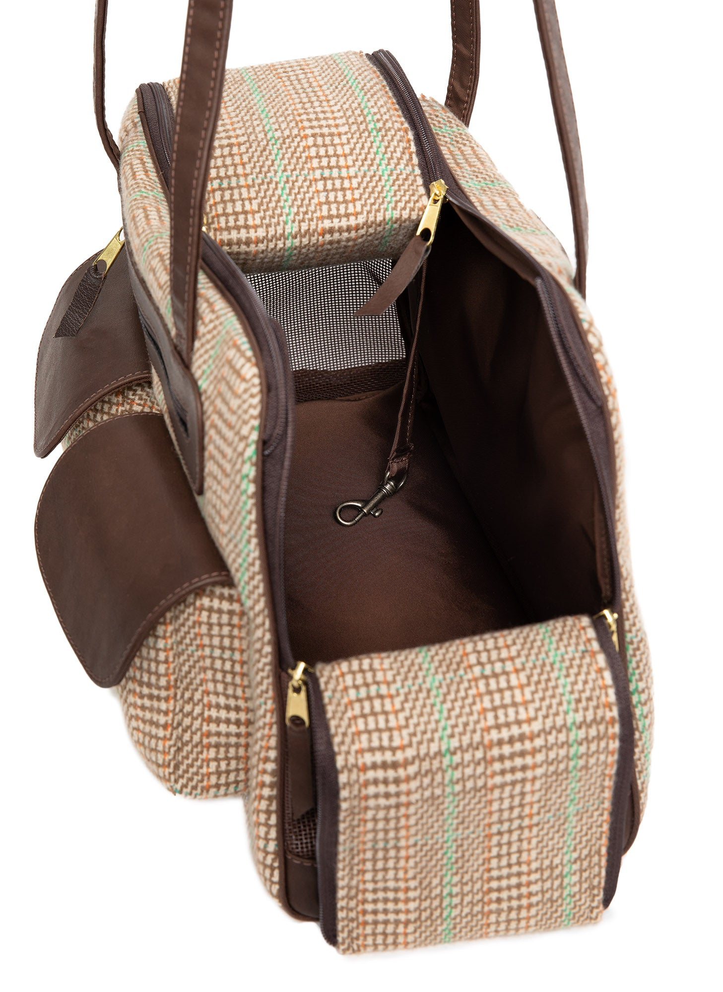 Fall - Dog Carrier - Cashmere Dog Carrier  - Beige & Green Plaid