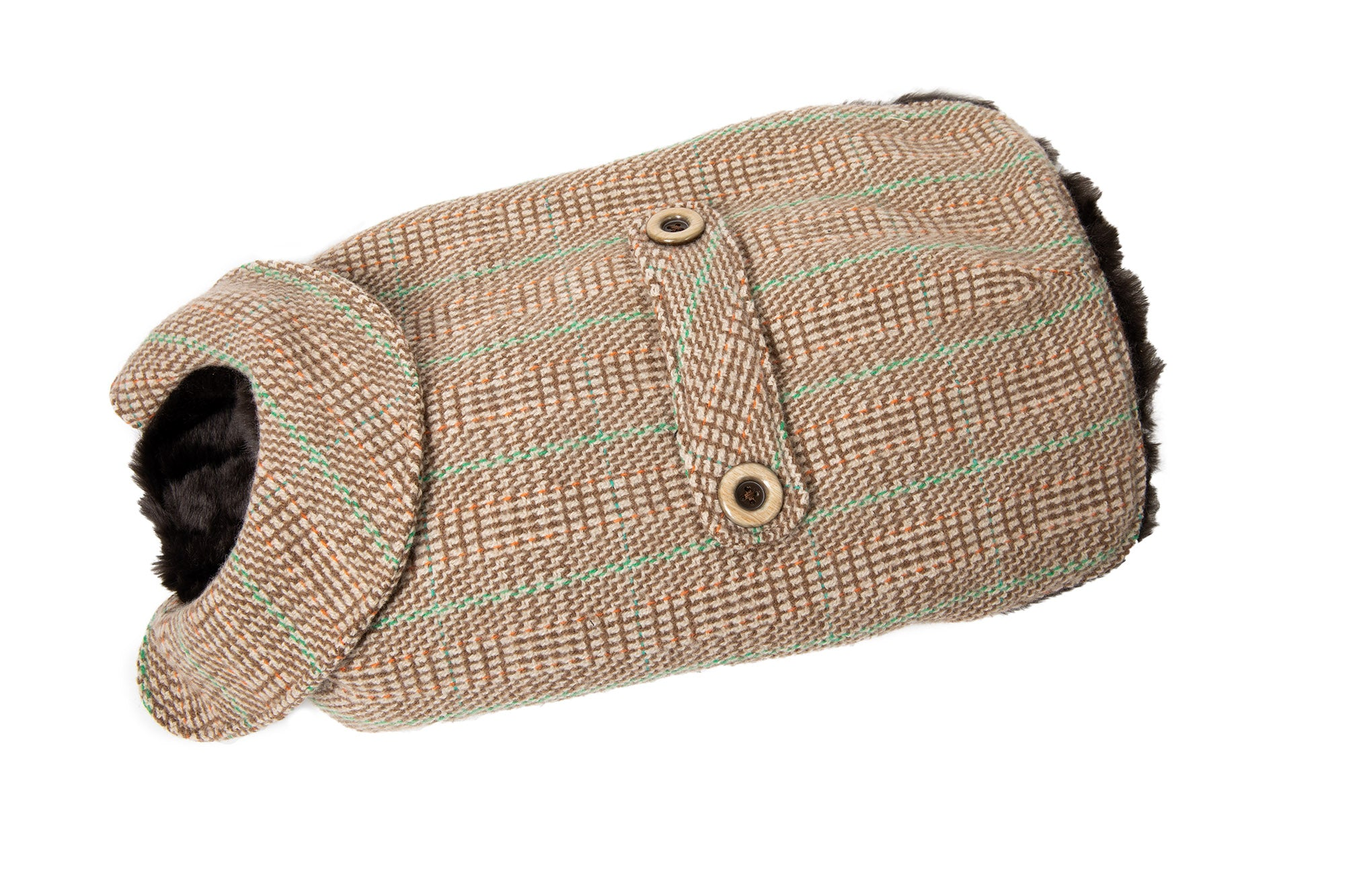 Cashmere Dog Coat - Faux Fur Lining - Beige & Green Plaid