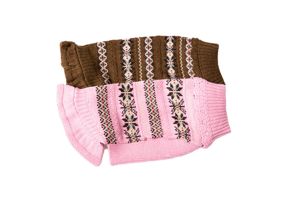Skirted Ruffle Sweater - Wool Dog Sweater - Pink & Brown