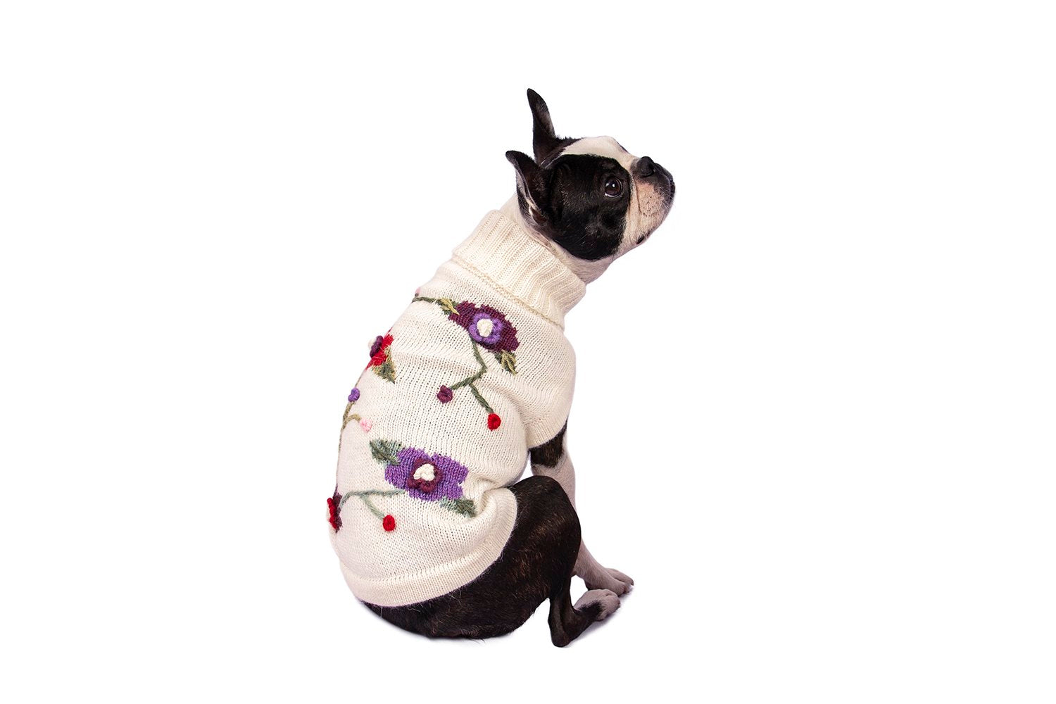 Lightweight Alpaca Wool/Acrylic Flower Dog Sweater