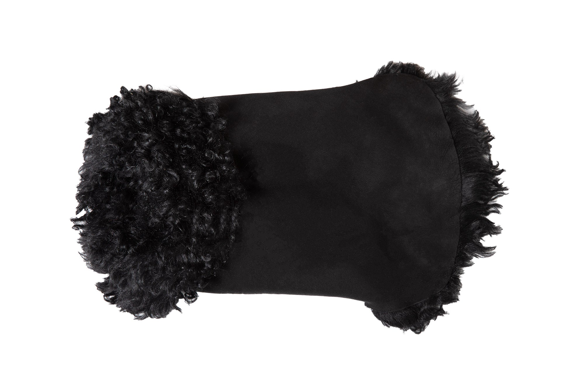 Hand-Cut Shearling Curly Long Fur Black Dog Coat