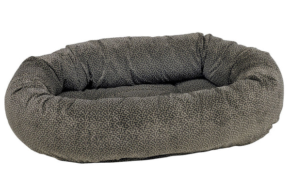Microvelvet - Donut Bed - Pewter Bones Pattern - Dog Bed