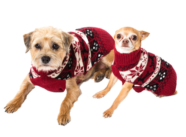 Wool Dog Sweater - Red Ski Sweater