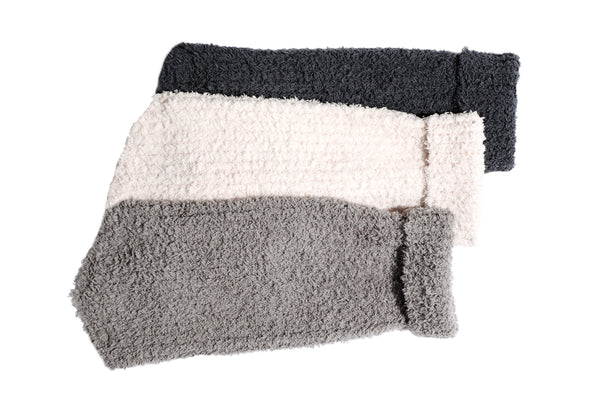 Chenille Rag Dog Sweater -  Dark Gray, Light Gray & Beige