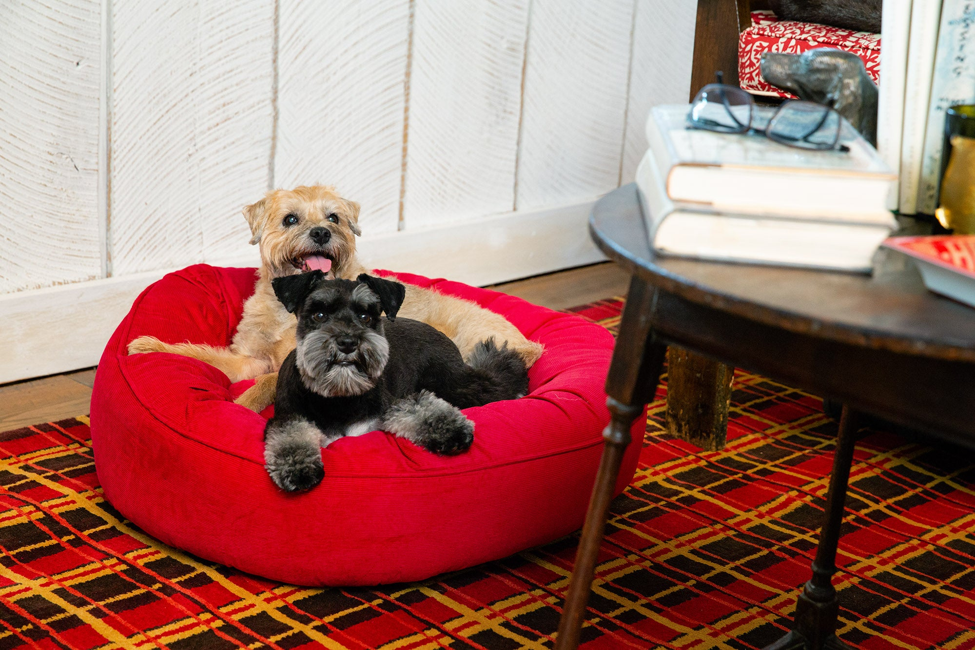 Canine Styles - Corduroy Gray - Corduroy Red - Dog Bed