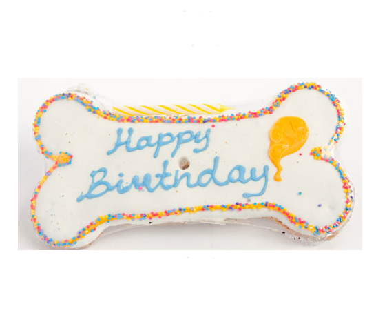 Specialty Treat - Happy Birthday Treat - Frosted Script Bone - Dog Treat - USA